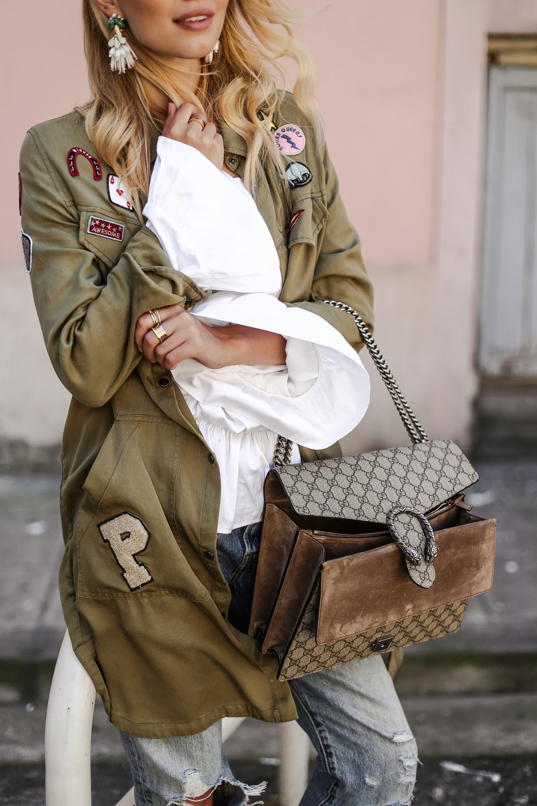 gucci used. Blogger Style : Gucci Dionysus, Oversized Military, Used Denim, Off Shoulder Blouse