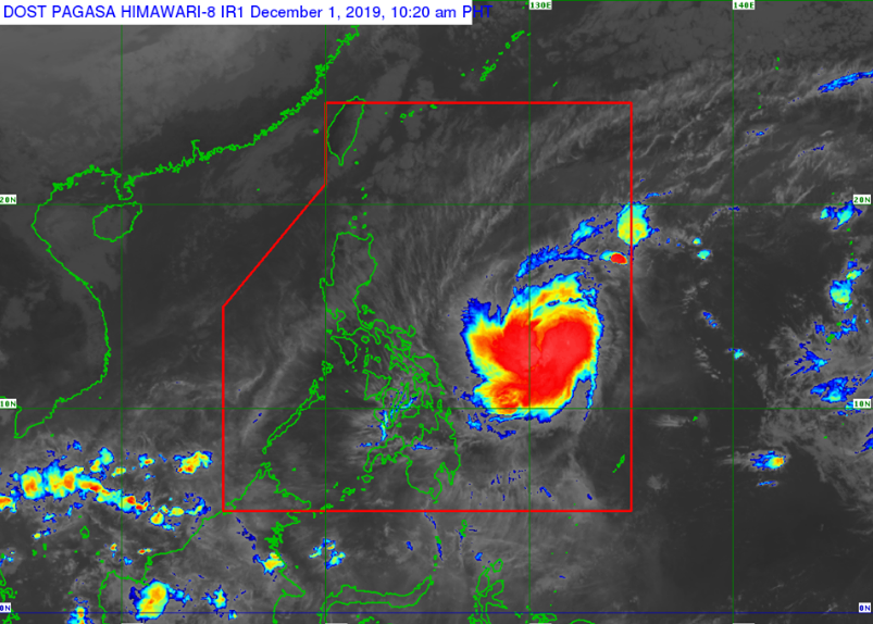 Satellite image of  Typhoon Tisoy as of 10:20 am on Sunday, December 1