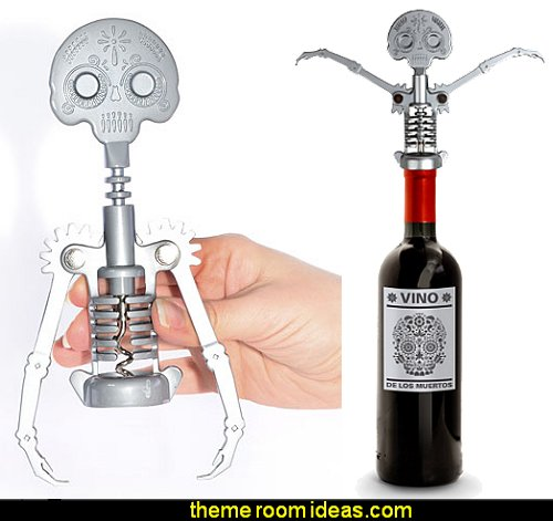 Day of the Dead Corkscrew  Gothic kitchen decor - gothic kitchenware - gothic dinnerware - skulls kitchen decorations - bat kitchen decor  dracula  vampires - Halloween kitchen decorating - skeletons kitchen decor -  zombie kitchen stuff