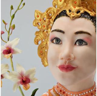 Danseuse Sri Lankaise & Orchidées - Catalina Anghel de Azucar'arte
