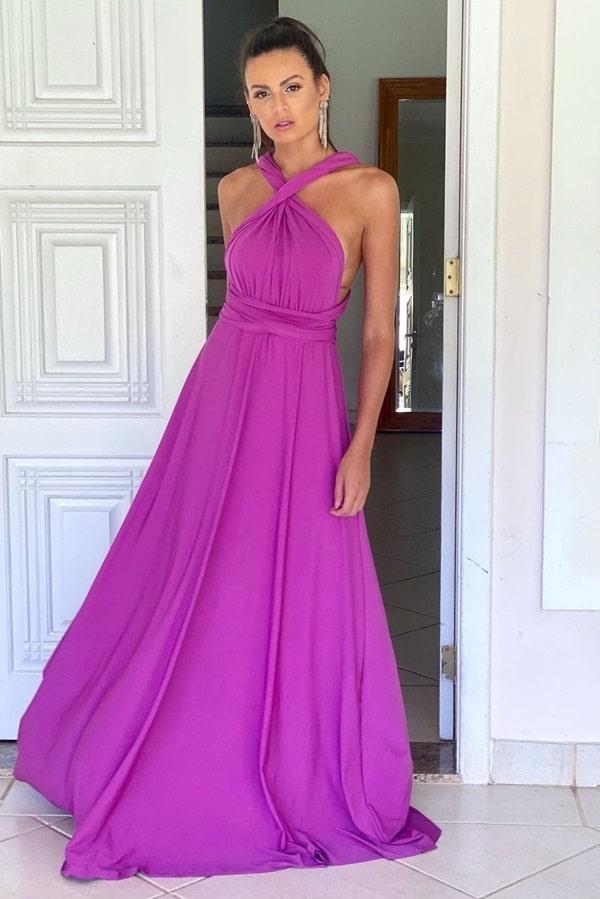 vestido longo fúcsia amarração multiformas