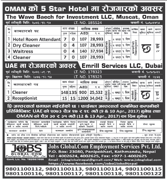 Jobs in OMAN 5 Star Hotel for Nepali, Salary Rs 37,934