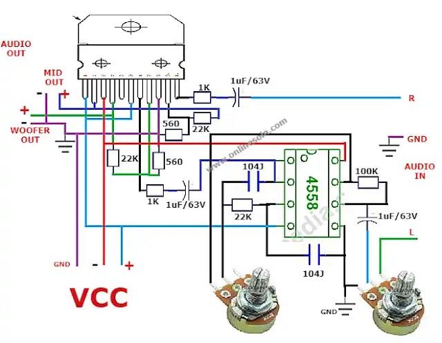 TDA7265 Amplifier with bass flirter | Circuit diagram.