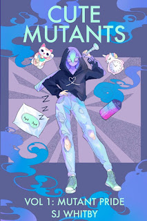 A person in a mask, hoodie, and ripped jeans stands with her right hand on her hip and her left hand holding a baseball bat over her shoulder. Various objects float around her. The whole scene is blue and purple pastels.