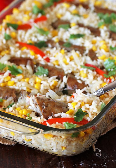 Baked Sausages and Rice with Peppers & Corn Image