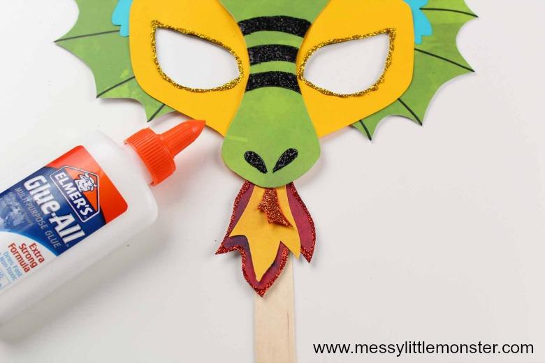 Printable Dragon Mask. Easy dragon craft for kids.