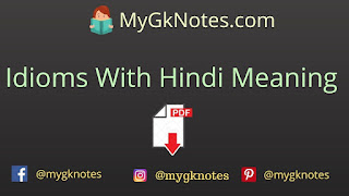 Idioms With Hindi Meaning PDF Download