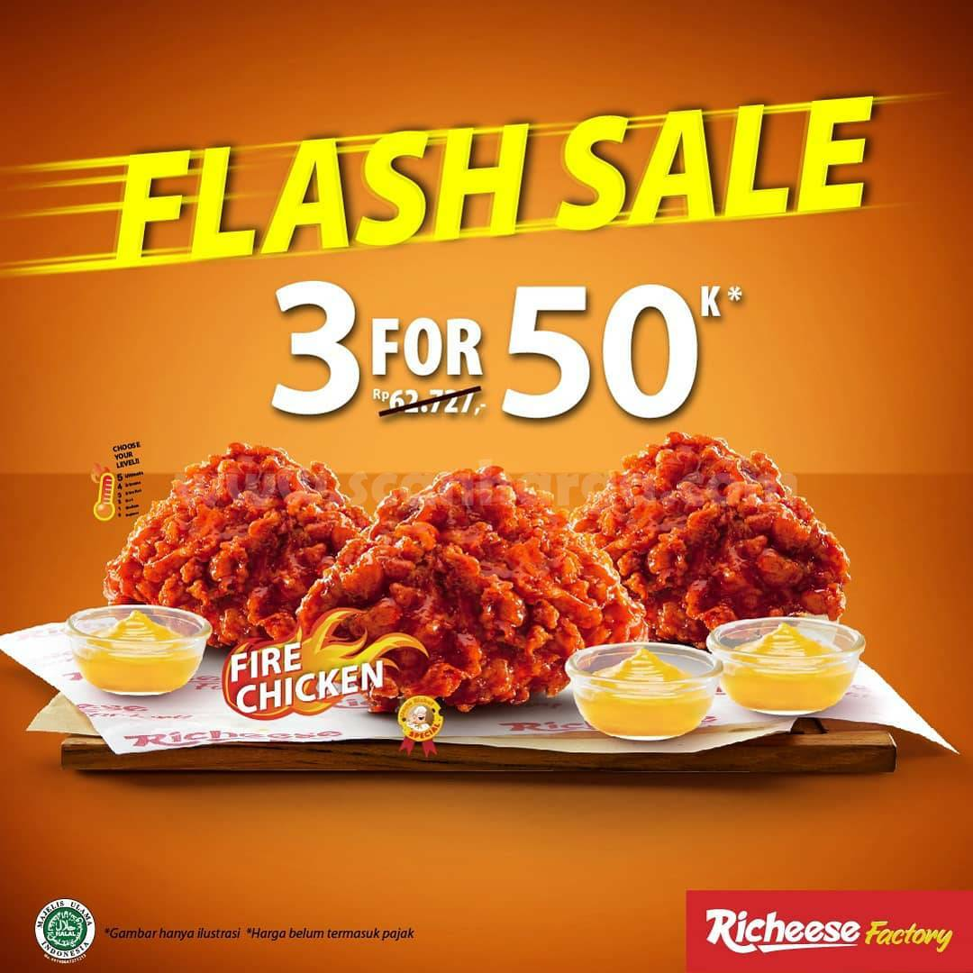 Promo Richeese Factory Flash Sale: 3 Fire Chicken harga Rp 50.000