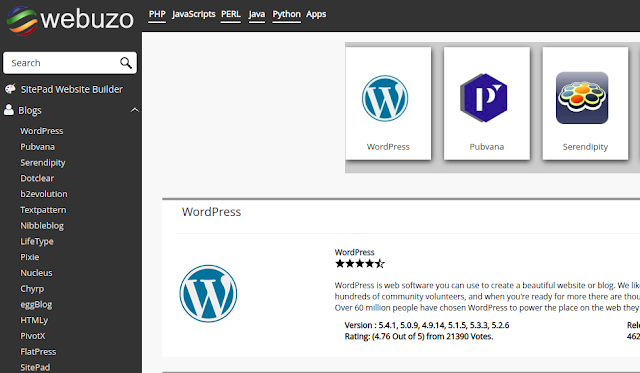 Webuzo Dashboard.