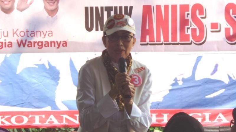 Ibunda Sandiaga Uno, Mien R Uno, ikut mengkampanyekan anaknya