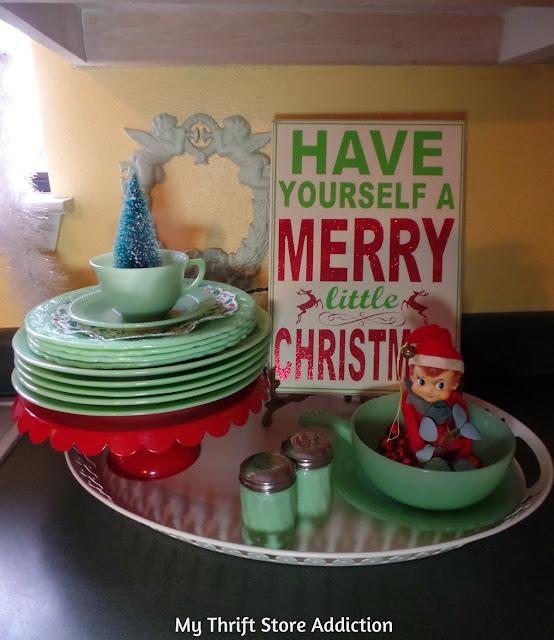 Christmas elves cozy vintage kitchen