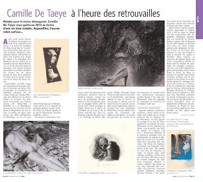 article de danièle gillemon à propos de l'exposition de camille de taeye au salon d'art dans le soir mad du mercredi 19 mai 2021