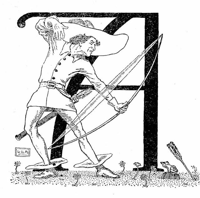 an L. Leslie Brooke illustration, initial A, an archer misses the mark