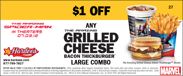 Easley Eats Hardee S Coupon 1 Off Grilled Cheese Bacon