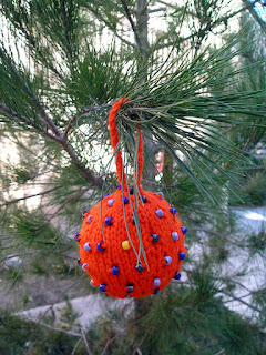 orange, beaded, knitted, ornament