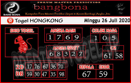 Prediksi Bangbona HK Minggu 26 Juli 2020