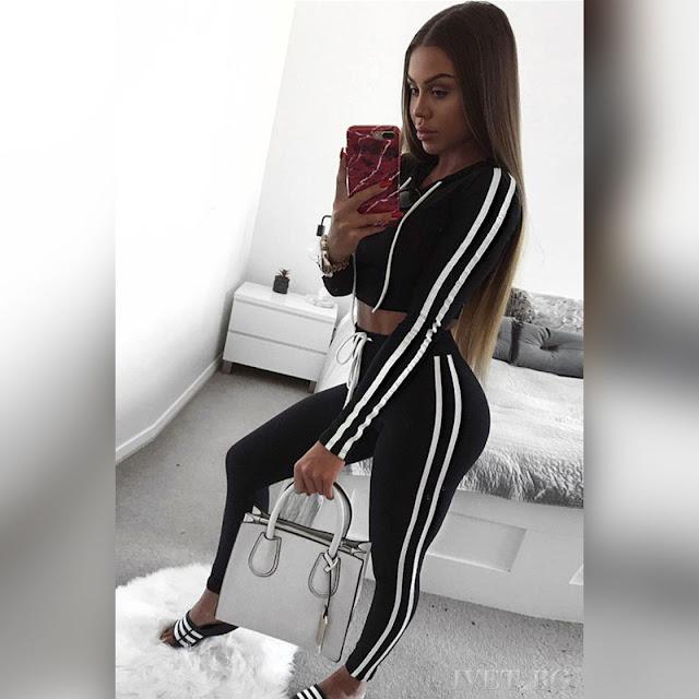 Γυναικείο μαύρο αθλητικό σύνολο MORGAN BLACK