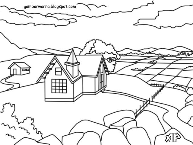 contoh gambar gambar mewarnai pemandangan alam pedesaan