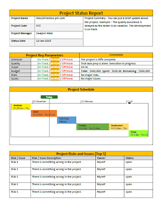 Project Status Report Template Free Management