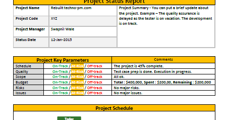 Project Status Report Template Word Template Free
