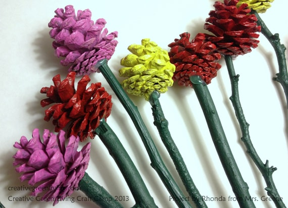 pinecone flowers, #creativegreenliving
