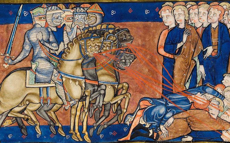 Assanhamento da perseguição do Anticristo. Cambridge R.16.2 Trinity Apocalypse 010r