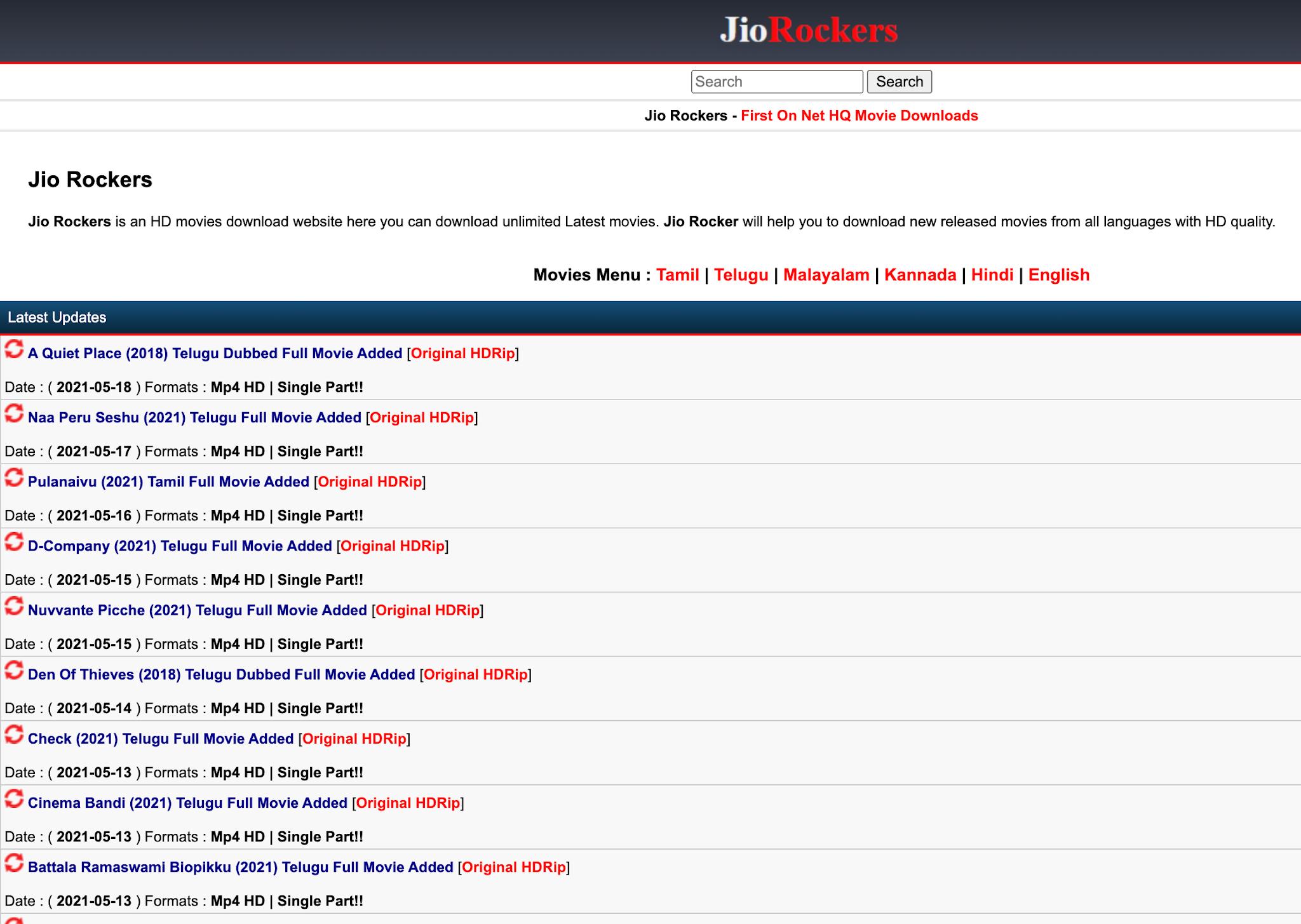 Jio Rockers 2021 website