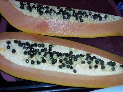 papaya fruit with seeds