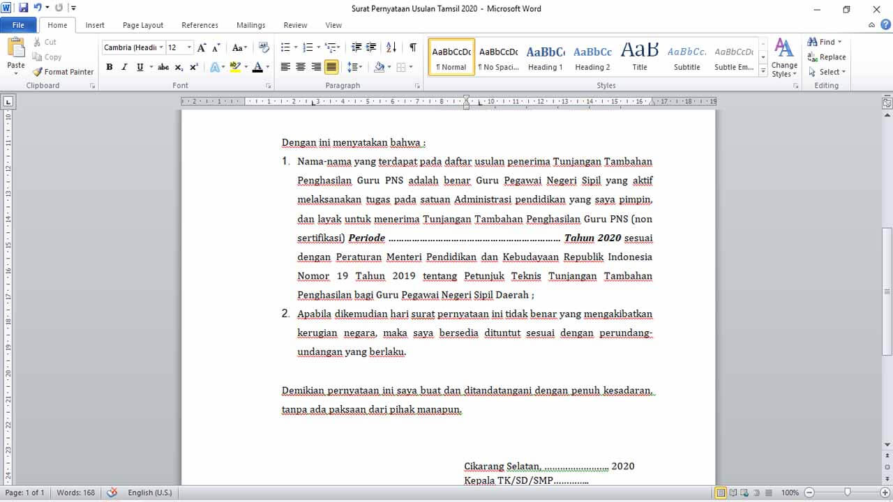 Surat Pernyataan Guru PNS TK/SD/SMP Penerima Tunjangan Tambahan Penghasilan