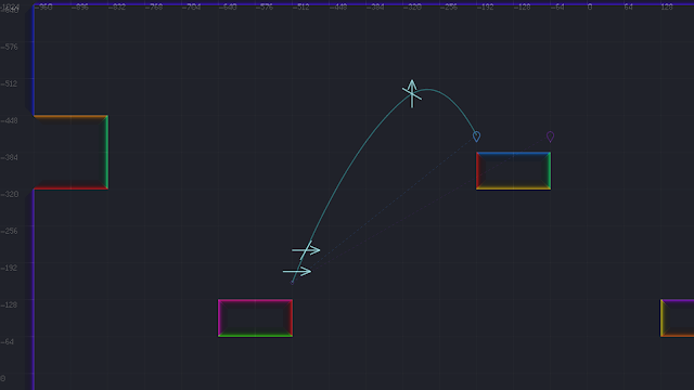 A screenshot showing a jump trajectory with instruction indicators drawn over-top it.