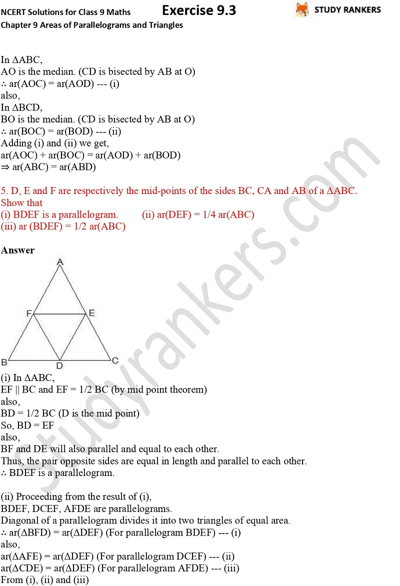 NCERT Solutions for Class 9 Maths Chapter 9 Areas of Parallelograms and Triangles Exercise 9.3 Part 3