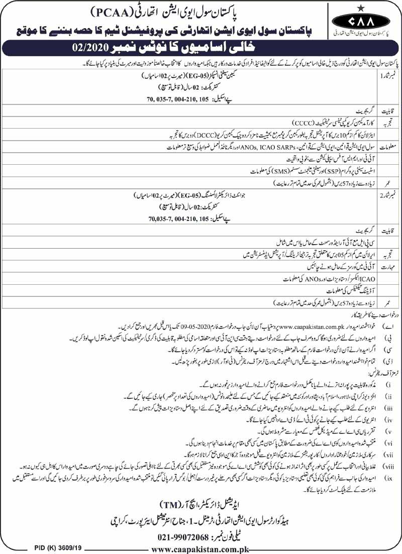 Pakistan Civil Aviation Authority PCAA Jobs April 2020