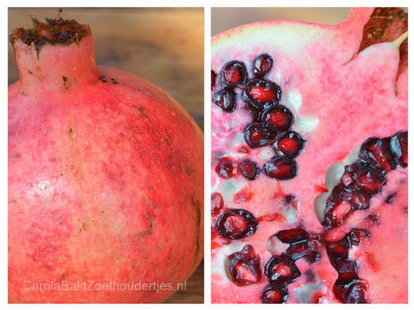 Merenguerol met slagroom, matcha en granaatappel