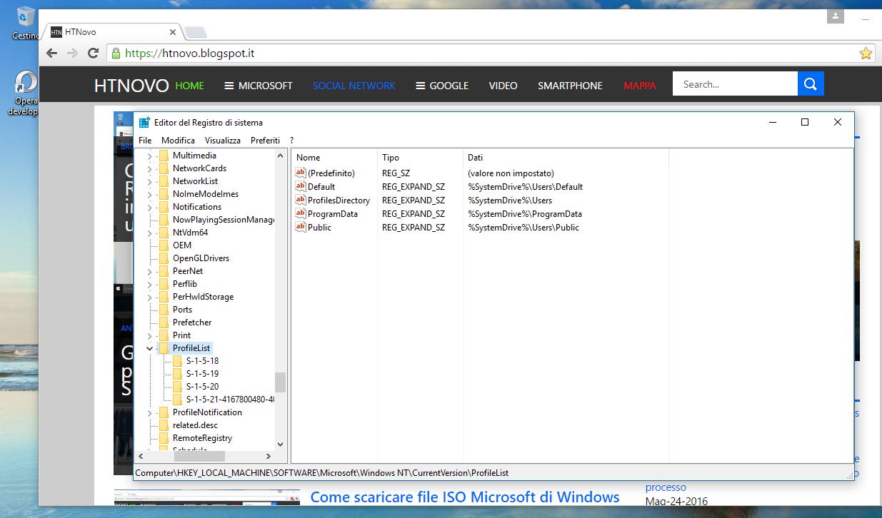 Come ripristinare Account precedente in Windows 10 ProfileList
