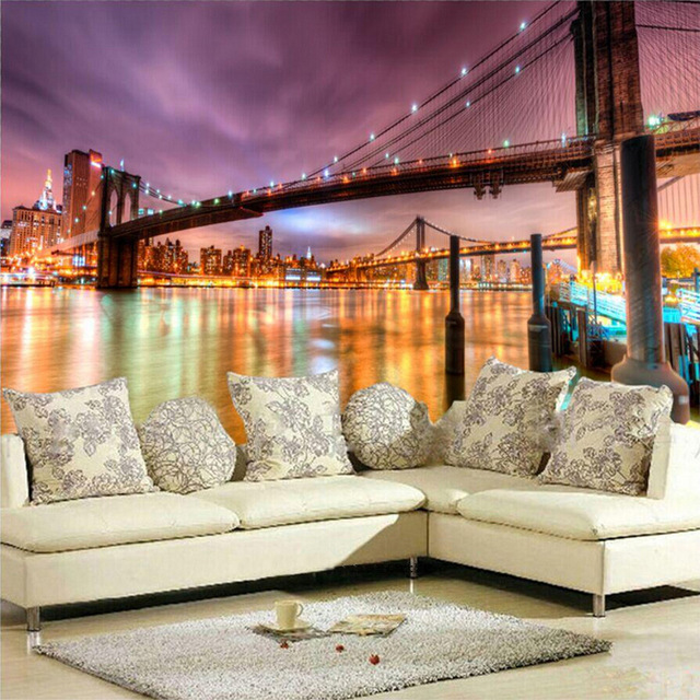 Wall Mural Ideas for Living Room New York Brooklyn Bridge