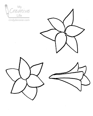 how to draw Easter lilies - first step