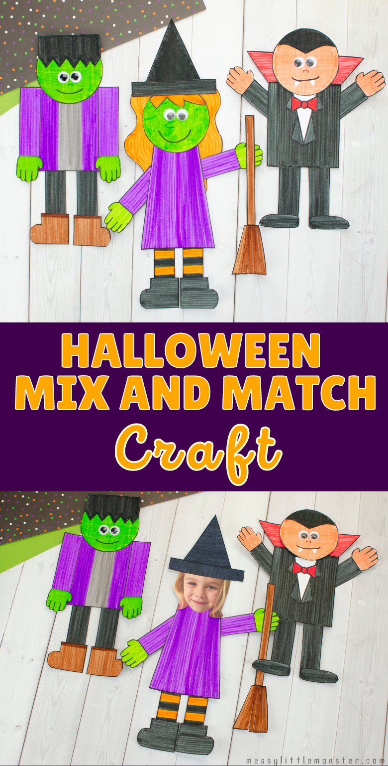 Halloween paper crafts. Halloween crafts for kids with printable template. Frankenstein, Vampire and Witch crafts.