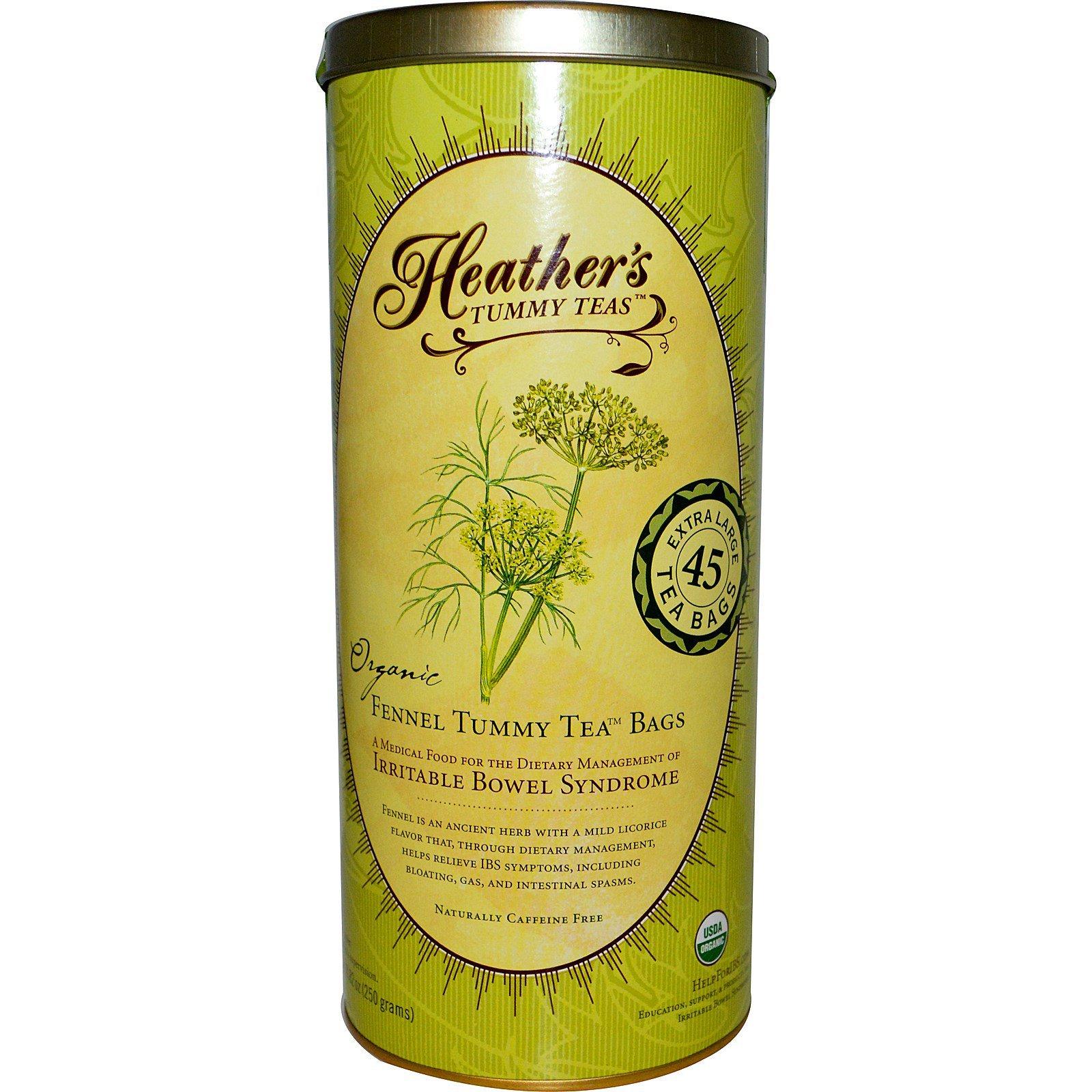 Heather's Tummy Care, Чай от живота, пакетики с натуральным фенхелем, без кофеина, 45 пакетиков, 8.82 унций (250 г)