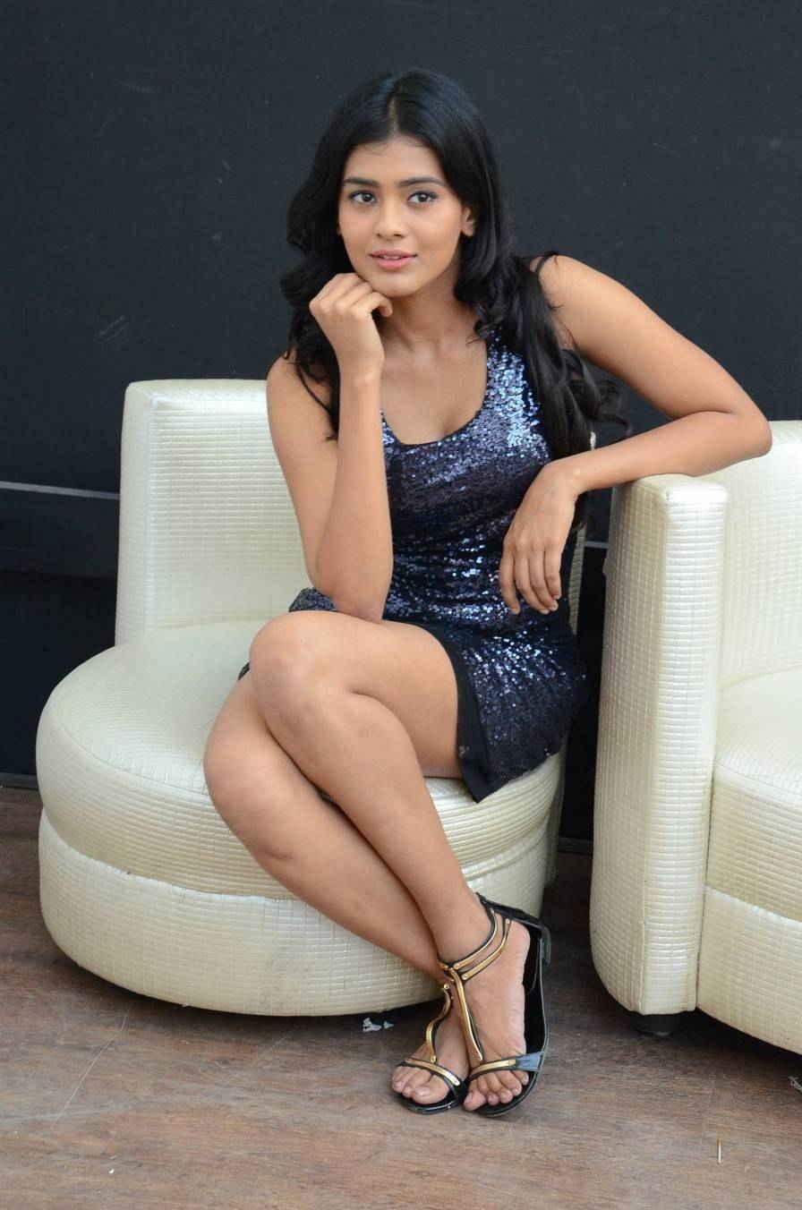 Hebah Patel Long Legs Thighs Stills In Mini Blue Skirt