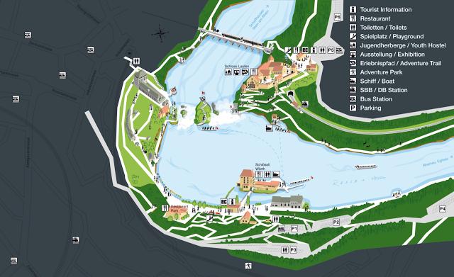 Mapa turístico cataratas del Rhin