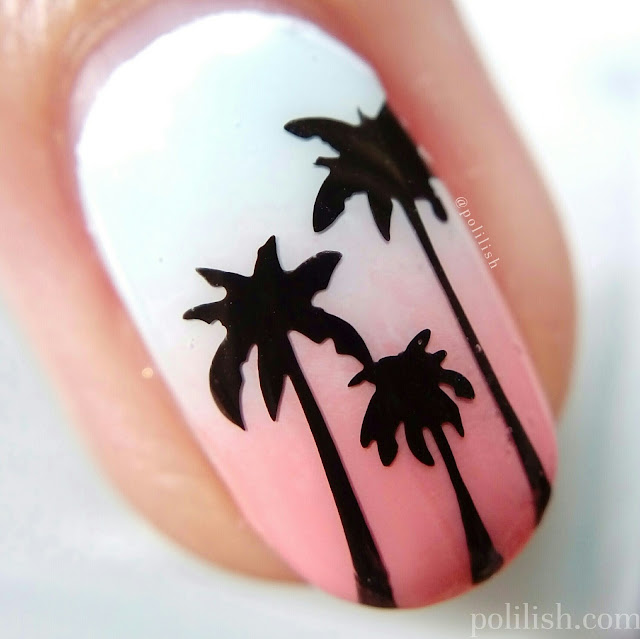 Summer manicure with palm trees and a sunrise gradient | polilish