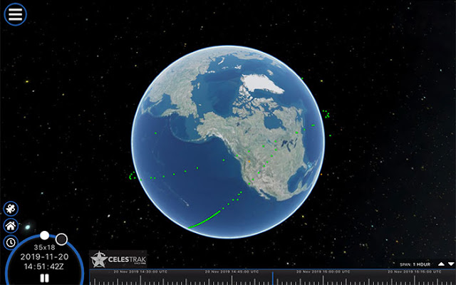 Celestrak offers really great animations of satellite orbits and transits (Source: www.celestrak.com)
