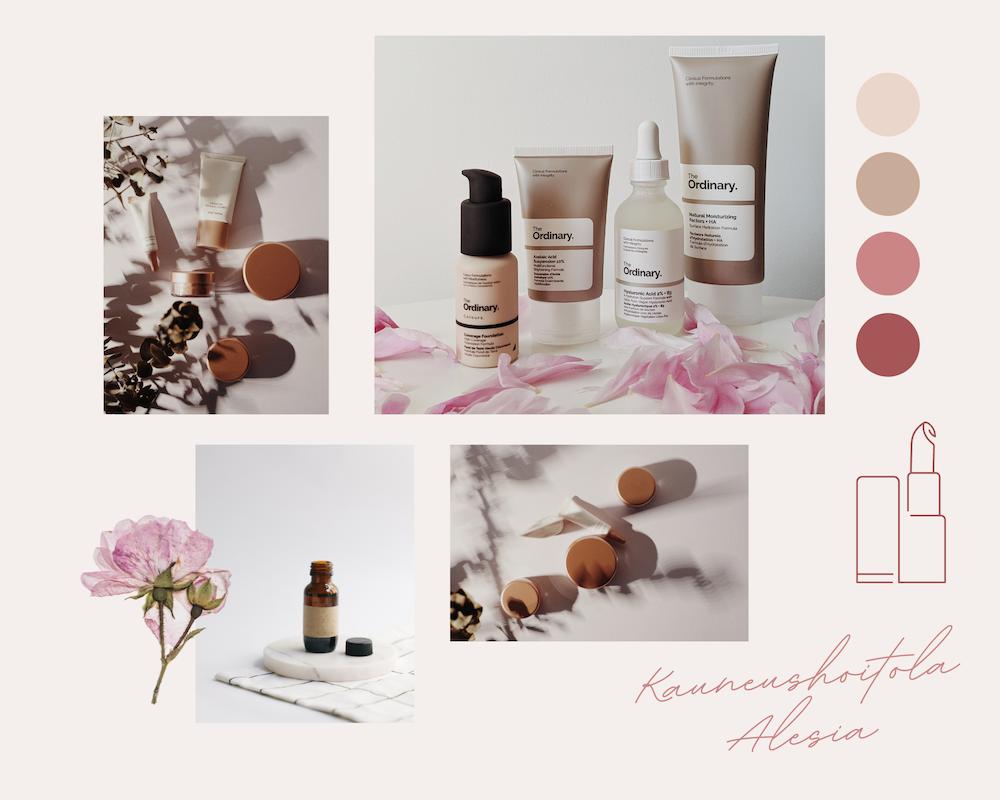 Erilaisia kosmetiikkapakkauksista otettuja fiiliskuvia.