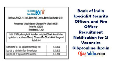 Bank of India Specialist Security Officers and Fire Officer Recruitment Notification