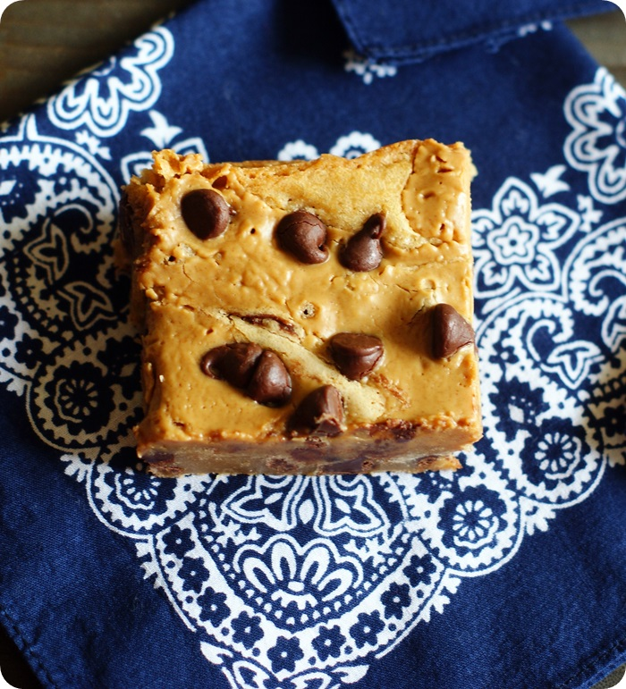 Peanut Butter Swirl Chocolate Chip Blondies ::: bakeat350.net