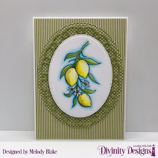 Divinity Designs Stamp Set: Lemon Branch, Custom Dies:  Layered Lacey Ovals, Pierced Ovals, Paper Collection: Christmas Coordinating 2015