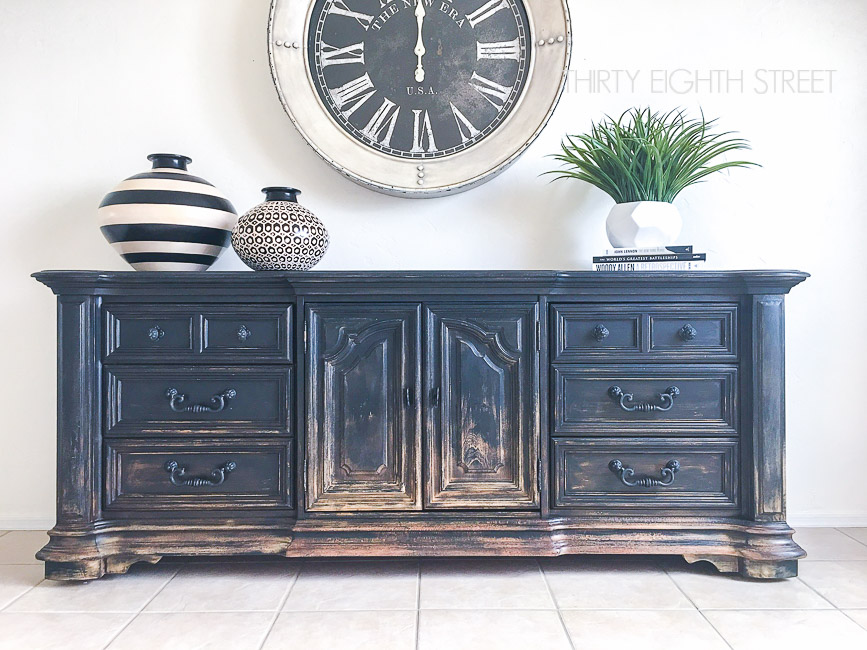 black painted media console, balayage looking furniture, gradual distressing, distressing naturally, worn looking furniture, distressed furniture