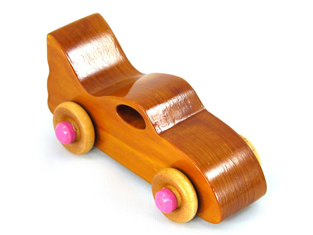 Handmade Wooden Toy Bat Car Amber Shellac with Pink Hubs