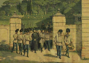 A lithograph from about 1860 showing Bossi and Count Livraghi being led to their death by firing squad