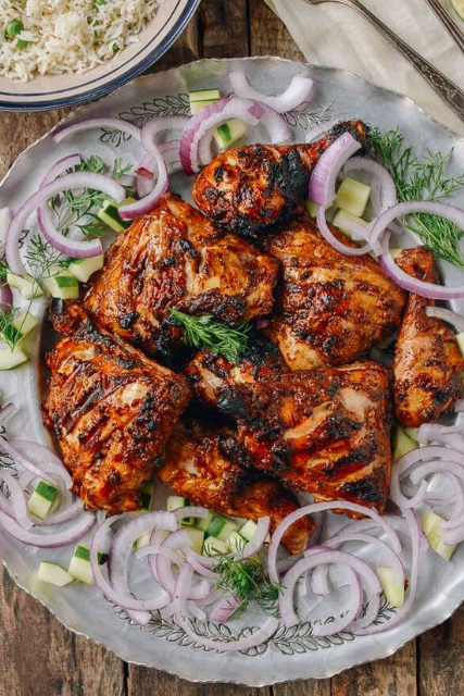 Grilled Tandoori Chicken with Indian-Style Rice